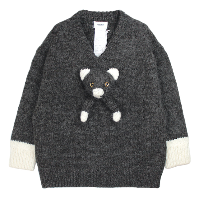 doublet STUFFED CAT HAND-KNITTING PULLOVER BLACK