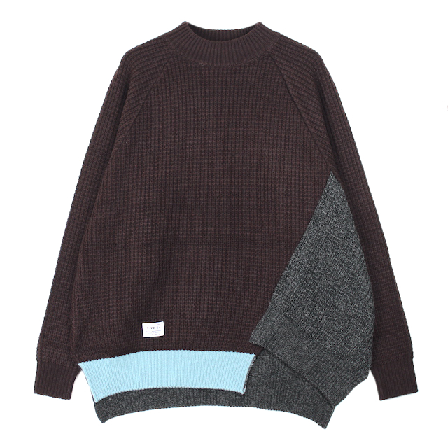 elephant TRIBAL fabrics OUT OF ALIGNMENT KNIT BROWN