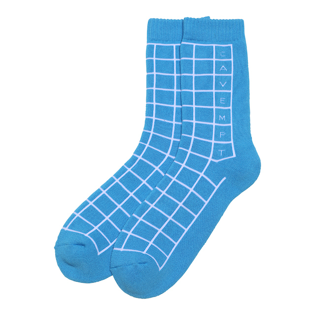 C.E/CAVEMPT GRID SOCKS BLUE