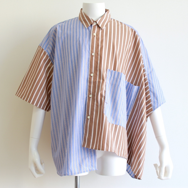 JIEDA STRIPE ASYMMETRY SHIRT BLUE/BEG