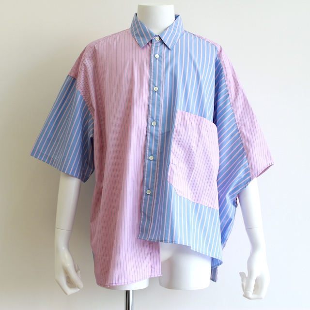 JIEDA STRIPE ASYMMETRY SHIRT PINK/BLU