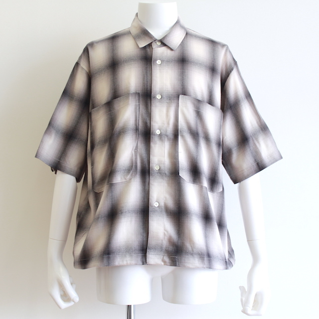 JIEDA CHECK DRAW CODE SHIRT WHITE