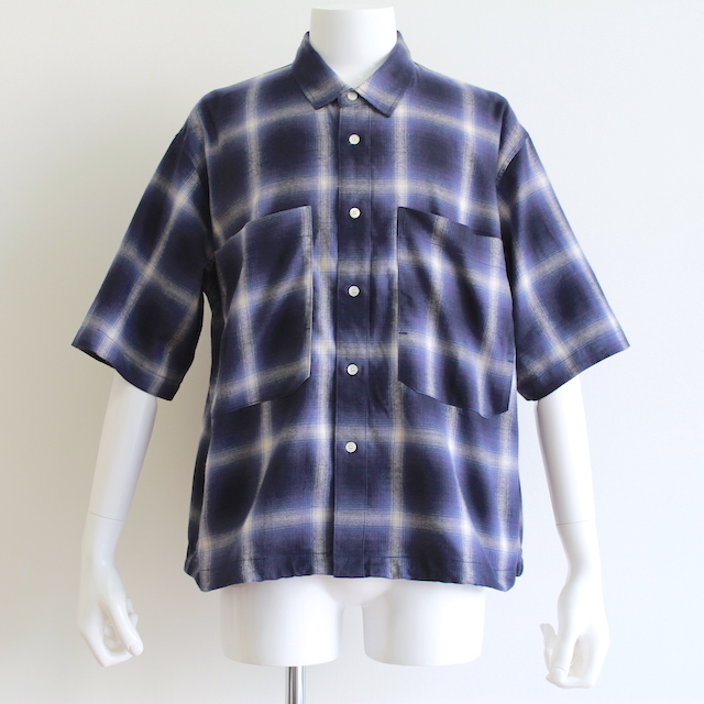 JIEDA CHECK DRAW CODE SHIRT BLUE