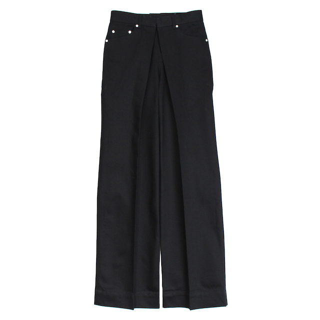 JOHNLAWRENCESULLIVAN 定番 RIGID DENIM WIDE PANTS BLACK/BLACK