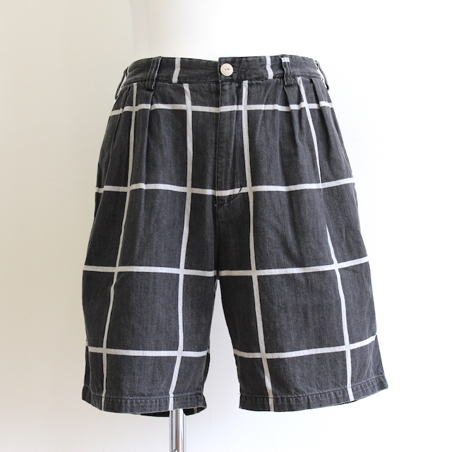 C.E/CAVEMPT GRID BLACK CHINO SHORTS