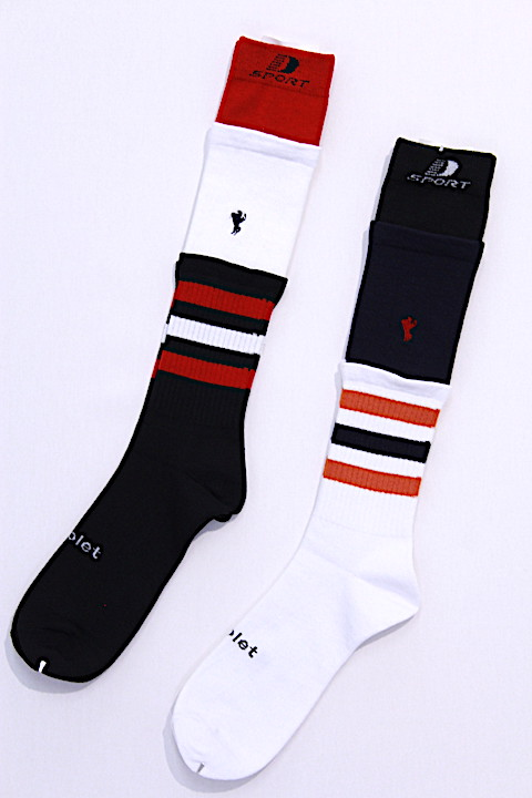 doublet 18AW37SC03 3 LAYERED BORDER SOCKS