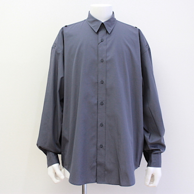 JOHNLAWRENCESULLIVAN COTTON ROLL-UP SLEEVE SHIRT GREY