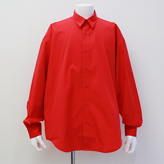 JOHNLAWRENCESULLIVAN COTTON ROLL-UP SLEEVE SHIRT RED