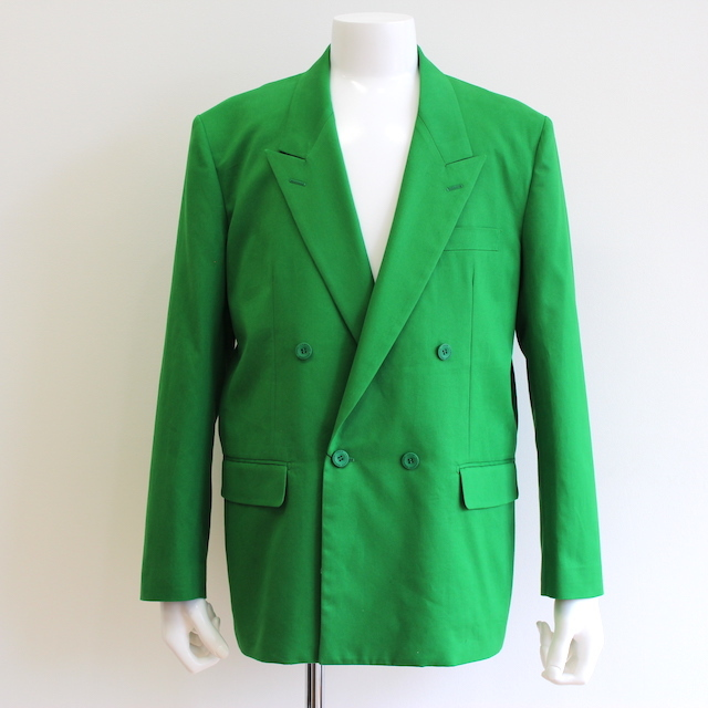 JOHNLAWRENCESULLIVAN COTTON DOUBLE BREASTED JACKET GREEN