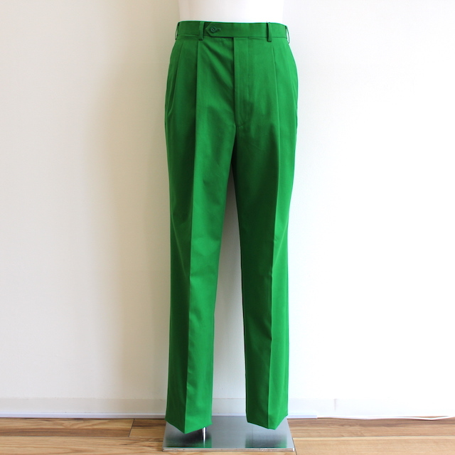 JOHNLAWRENCESULLIVAN COTTON PLEATED TROUSERS GREEN