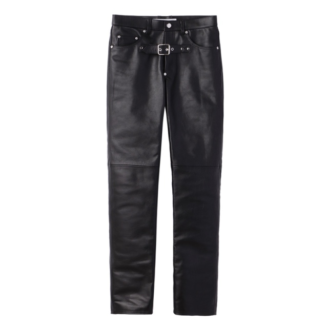 JOHNLAWRENCESULLIVAN FRONT SIDE BELTED LEATHER PANTS