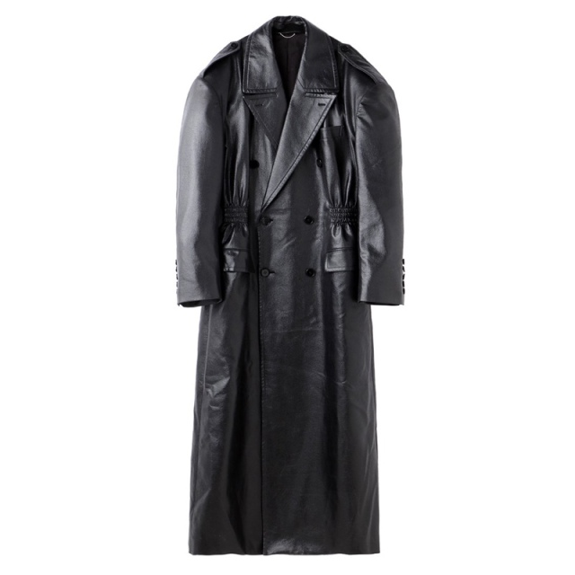 JOHNLAWRENCESULLIVAN WAIST GATHERED COAT BLACK