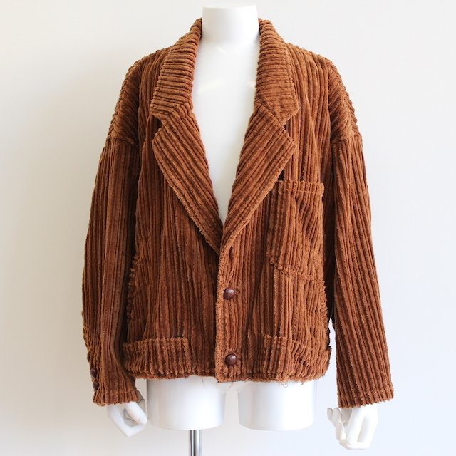 doublet CORDUROY CUT-OFF JACKET BROWN