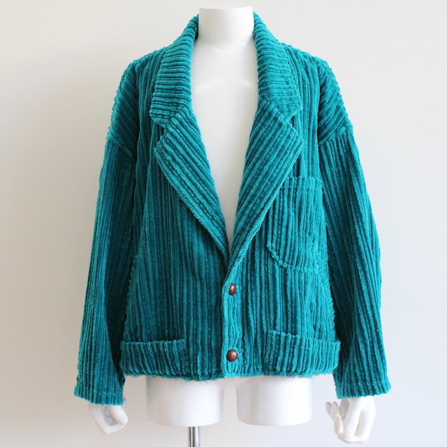 doublet CORDUROY CUT-OFF JACKET B.GREEN
