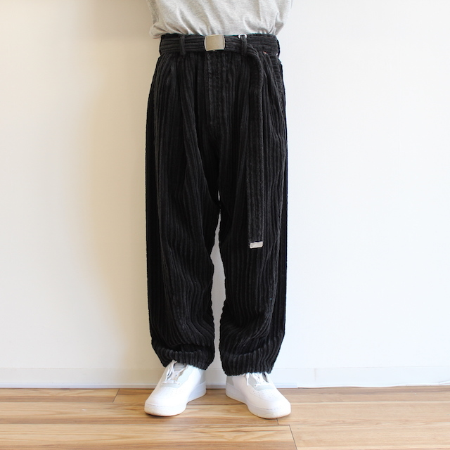 doublet CORDUROY WIDE TAPERED TROUSERS BLACK