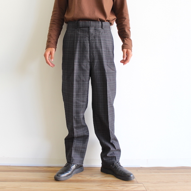 JOHNLAWRENCESULLIVAN CHECKED WOOL PLEATED TROUSERS