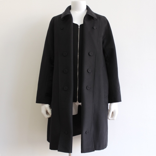KUDOS TOO MANY BUTTON TRENCH COAT BLACK