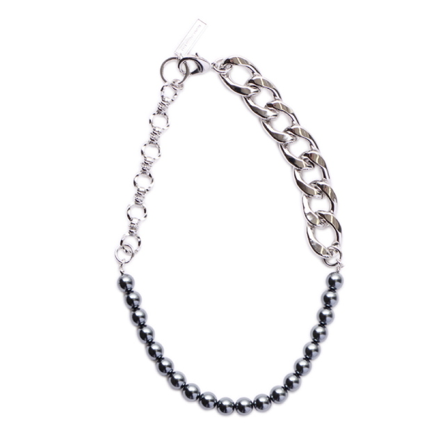[予約商品] 8月下旬再入荷予定 JOHNLAWRENCESULLIVAN CHAIN AND PEARL NECKLACE BLACK