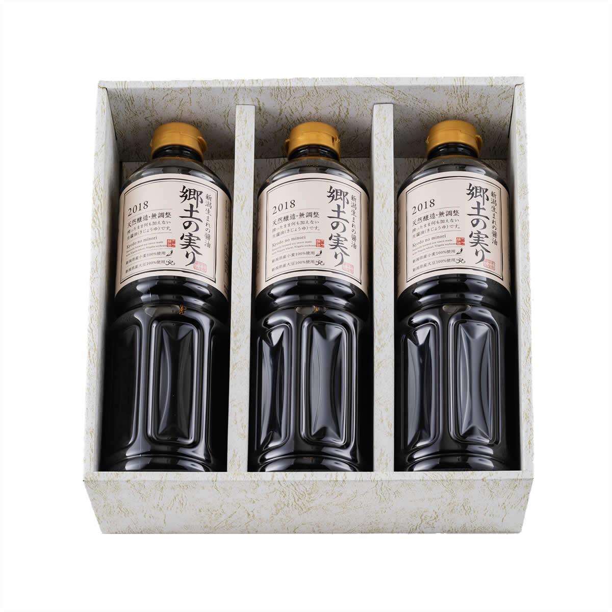 山崎醸造 新潟県産醤油 郷土の実り 1L×3 【送料無料】 | こめや丸七