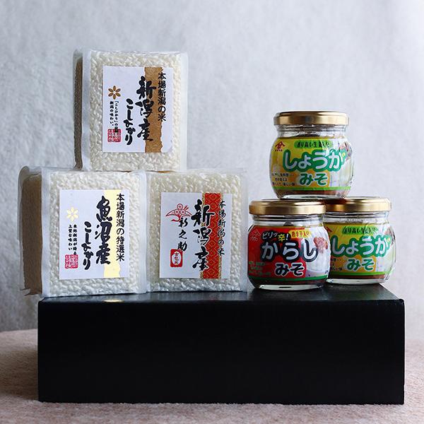 新潟米3種食べ比べ+ご飯のお供セット【送料無料】 | こめや丸七