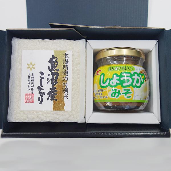 新潟米(魚沼産コシヒカリ)+ご飯のお供セット(しょうがみそ)※送料別途※    こめや丸七