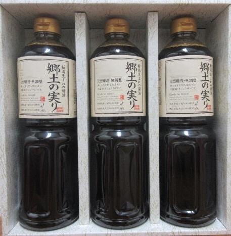 山崎醸造 新潟県産醤油 郷土の実り 1L×3 【送料込】