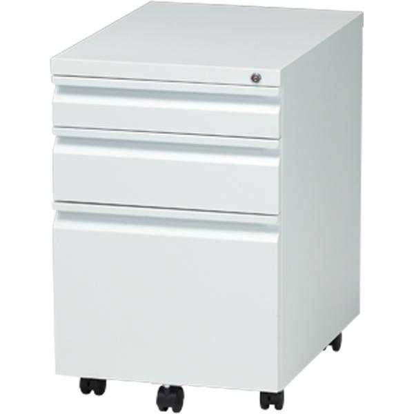 オフィスワゴン/100265/幅395×奥510×高さ600mm/ホワイト/FCシリーズ