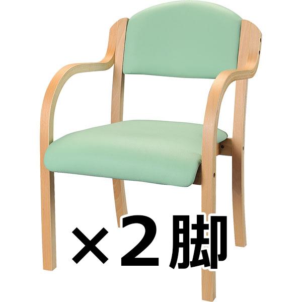 木製チェア/肘付/2脚セット/IKD-01-VGR/グリーン/IKDシリーズ/10155