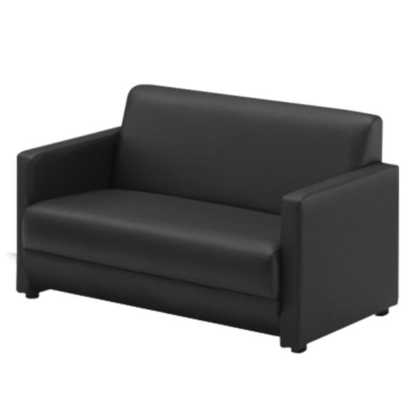 応接家具/2人掛ソファー/幅1140×奥行730×高さ690mm/ブラック/ジョイシリーズ/16677