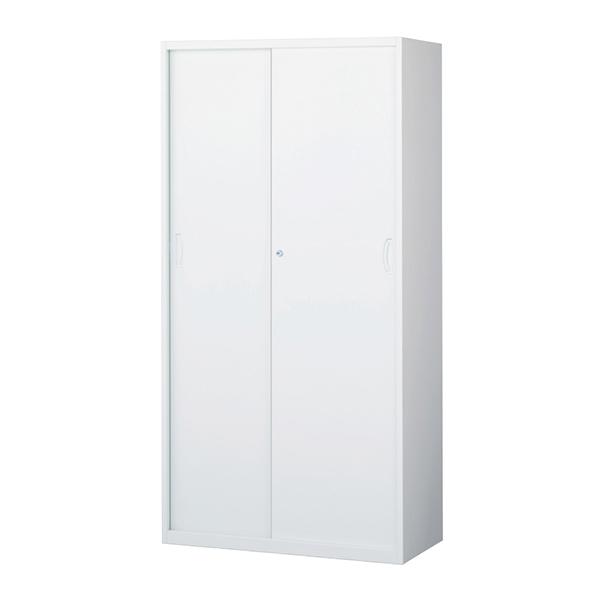 スチール引戸書庫/下置用/RW45-18S/幅900×奥行450×高さ1800/ホワイト/クウォールRWシリーズ/58979