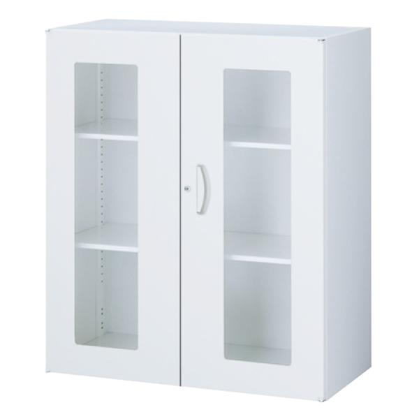 ガラス両開き書庫/上下兼用/内筒交換錠/RW45-10HG/幅900×奥行450×高さ1050/ホワイト/クウォールRWシリーズ/59904