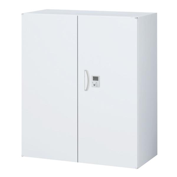 両開き書庫/上下兼用/ボタン錠/RW45-10H-B/幅900×奥行450×高さ1050/ホワイト/クウォールRWシリーズ/60278