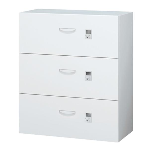 各段施錠3段ラテラルキャビネット/下置用/ボタン錠/RW45-310KD-B/幅900×奥行450×高さ1050/ホワイト/クウォールRWシリーズ/60282