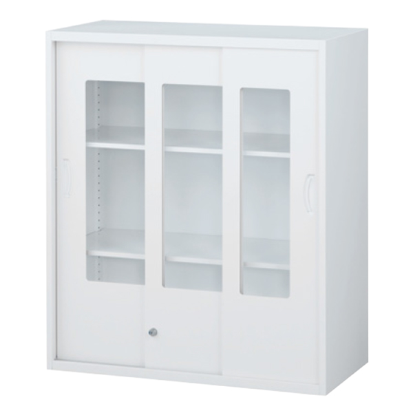 枠付ガラス3枚引戸書庫/上置用/RW45-310SG/幅900×奥行450×高さ1050/ホワイト/クウォールRWシリーズ/61271