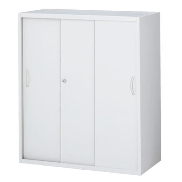 スチール3枚引戸書庫/上下兼用/RW5-310S/幅900×奥行500×高さ1050/ホワイト/クウォールRWシリーズ/62561