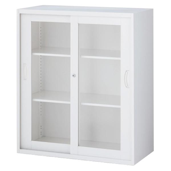 枠付ガラス引戸書庫/上下兼用/RW5-10SG/幅900×奥行500×高さ1050/ホワイト/クウォールRWシリーズ/62563