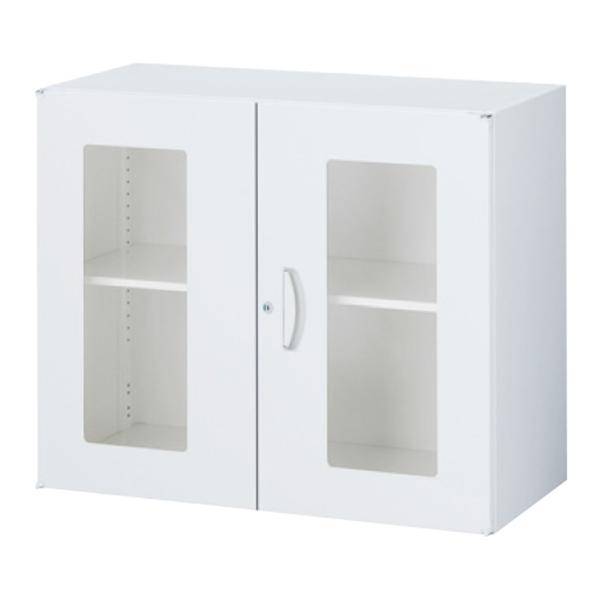 ガラス両開き書庫/上下兼用/内筒交換錠/RW45-07HG/幅900×奥行450×高さ750/ホワイト/クウォールRWシリーズ/70018