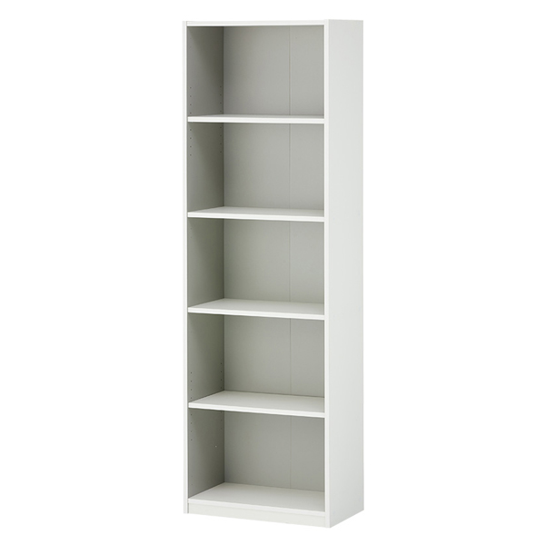 木製オープン書庫/5段/780009/幅600×奥行350×高さ1874mm/ホワイト/ペスパシリーズ
