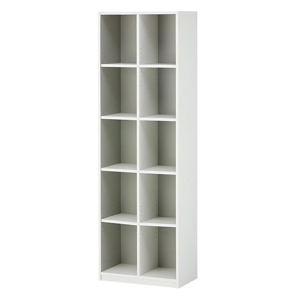 木製オープン書庫/5段/2列/780012/幅600×奥行350×高さ1874mm/ホワイト/ペスパシリーズ