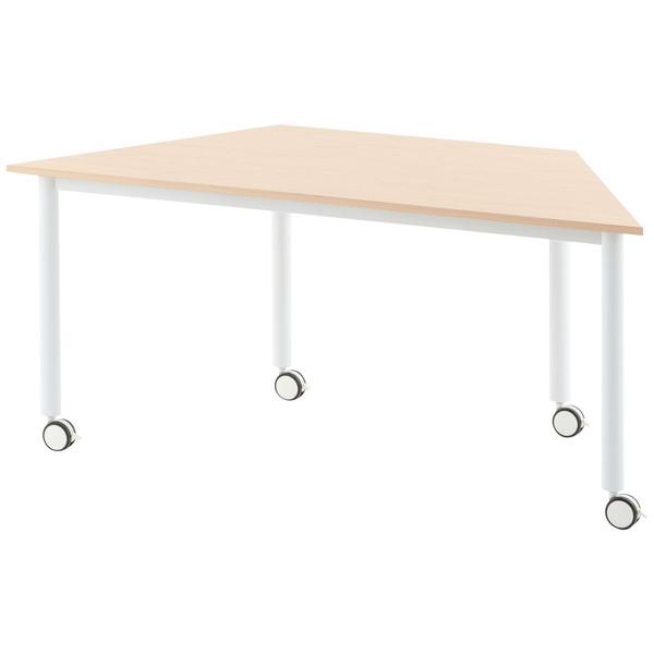 キャスター付きミーティングテーブル/台型型 /803261/幅1600×奥行693mm×高さ700mm/ナチュラル