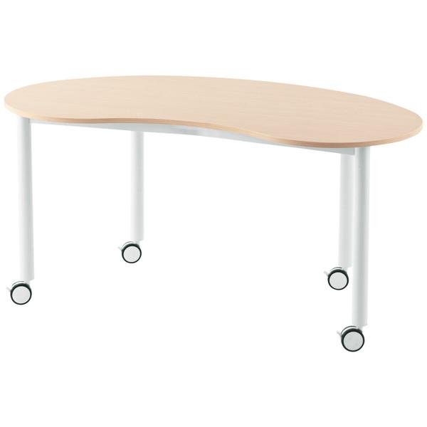 キャスター付きミーティングテーブル/豆型 /803262/幅1466×奥行761mm×高さ700mm/ナチュラル