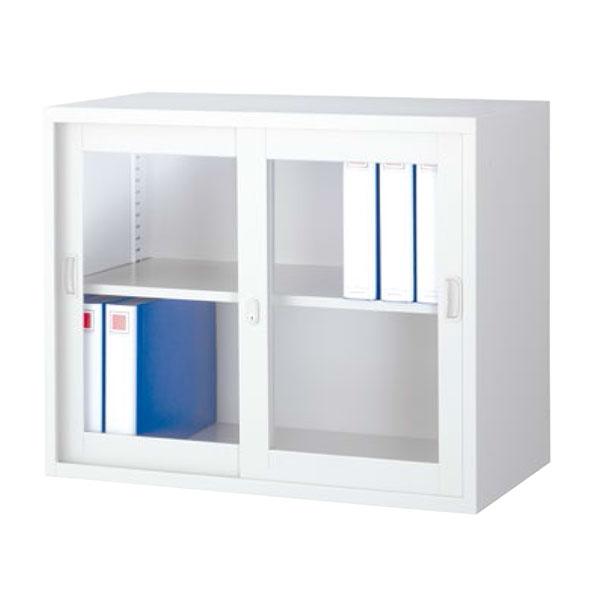 ガラス引戸書庫/上置用/ANW-325G/幅880×奥行515×高さ730mm/ホワイト/ANWシリーズ/70750