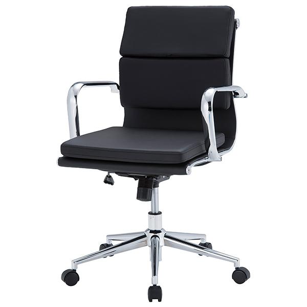 オフィスチェア/肘付/クッション付きローバック/APS-L03/ブラック/APSシリーズ/1001351
