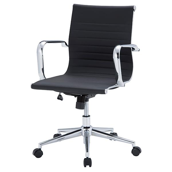 オフィスチェア/肘付/レザータイプ/APS-N02/ブラック/APSシリーズ/1001350