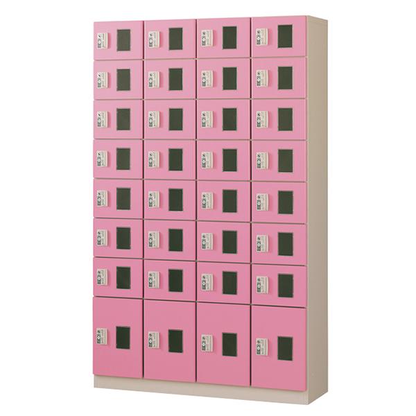 コイン(リターン式)/4列8段窓付/ピンク色CRK-S32-P