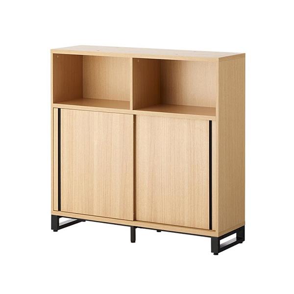 木製キャビネット/3段/オープン+2段スライドドア/下置き用/HBDK-CAB12-KS-3/幅1200×奥行398×高さ1200mm/METIO(メティオ)シリーズ/680107