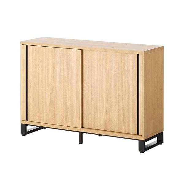 木製キャビネット/2段/スライドドア/下置き用/HBDK-CAB12-SU/幅1200×奥行398×高さ843.5mm/METIO(メティオ)シリーズ/680105