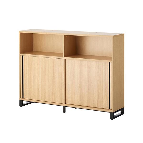 木製キャビネット/3段/オープン+2段スライドドア/下置き用/HBDK-CAB16-KS-3/幅1600×奥行398×高さ1200mm/METIO(メティオ)シリーズ/680108
