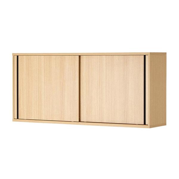 木製キャビネット/2段/スライドドア/上置き用/HBDK-CAB16-ST/幅1600×奥行398×高さ730.5mm/METIO(メティオ)シリーズ/680104