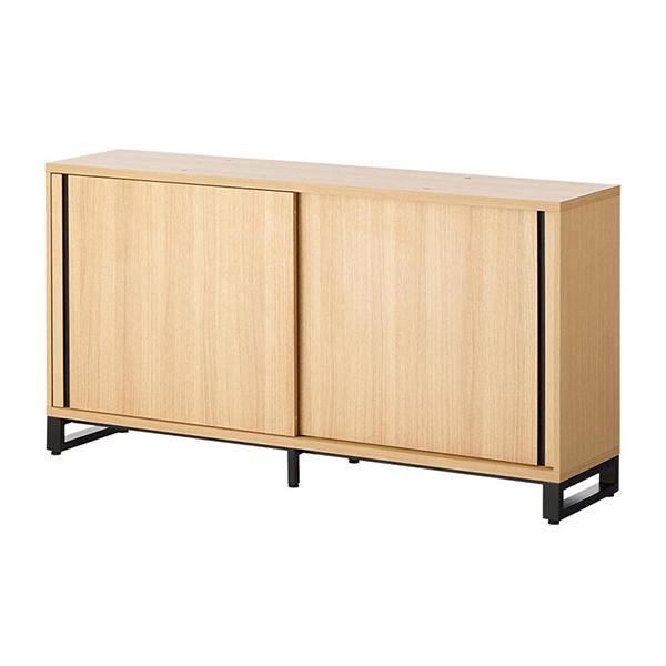 木製キャビネット/2段/スライドドア/下置き用/HBDK-CAB16-SU/幅1600×奥行398×高さ843.5mm/METIO(メティオ)シリーズ/680106